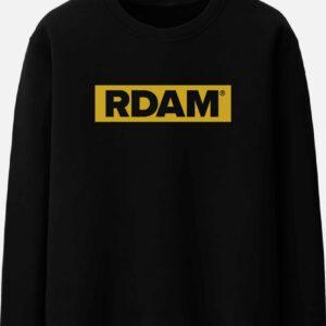 rdam sweater flock geel op zwart