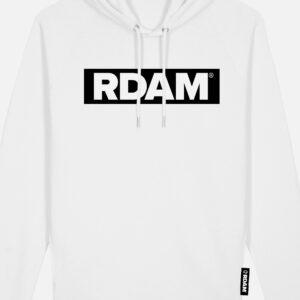 rdam hoodie wit flock outline